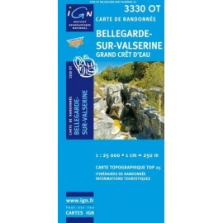 Achat Carte randonnées IGN - 3330 OT - Bellegarde Sur Valserine - Grand Crêt d'Eau