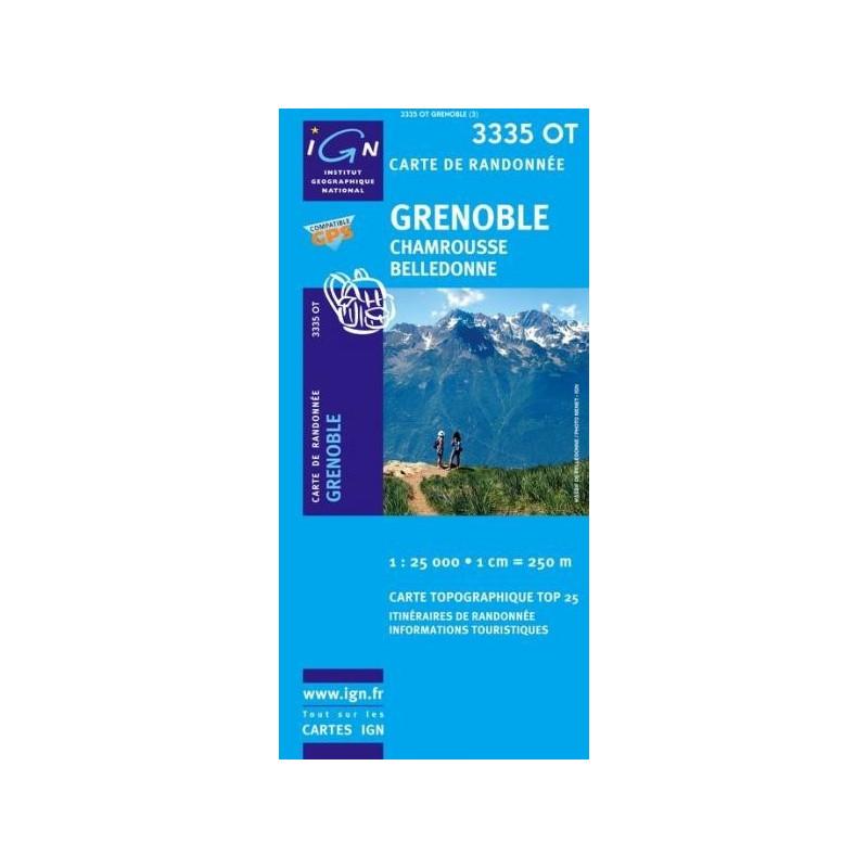 Carte randonnées IGN - 3335 OT - Grenoble - Chamrousse Belledonne
