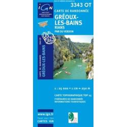 Achat Carte randonnées IGN - 3343 OT - Gréoux Les Bains - Rians