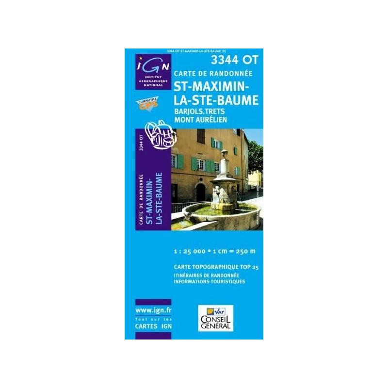 Achat Carte randonnées IGN - 3344 OT - St Maximin La Ste Baume - Barjols Trets Mont Aurélien