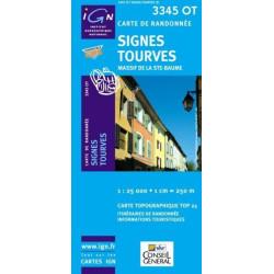 Achat Carte randonnées IGN - 3345 OT - Signes Tourves - Massif de la Ste Baume