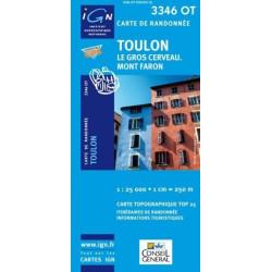 Achat Carte randonnées IGN - 3346 OT - Toulon - Le Gros Cerveau Mont Faron