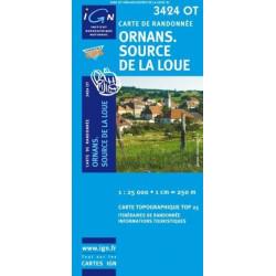 Achat Carte randonnées IGN - 3424 OT - Ornans Source De La Loue
