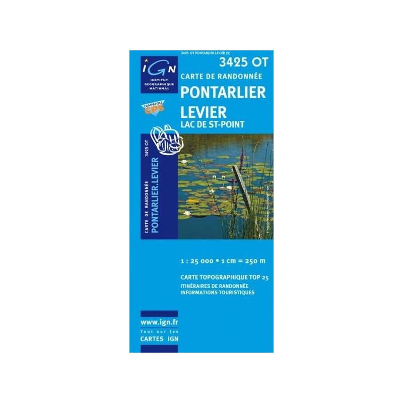 Achat Carte randonnées IGN - 3425 OT - Pontarlier Levier - Lac de St Point