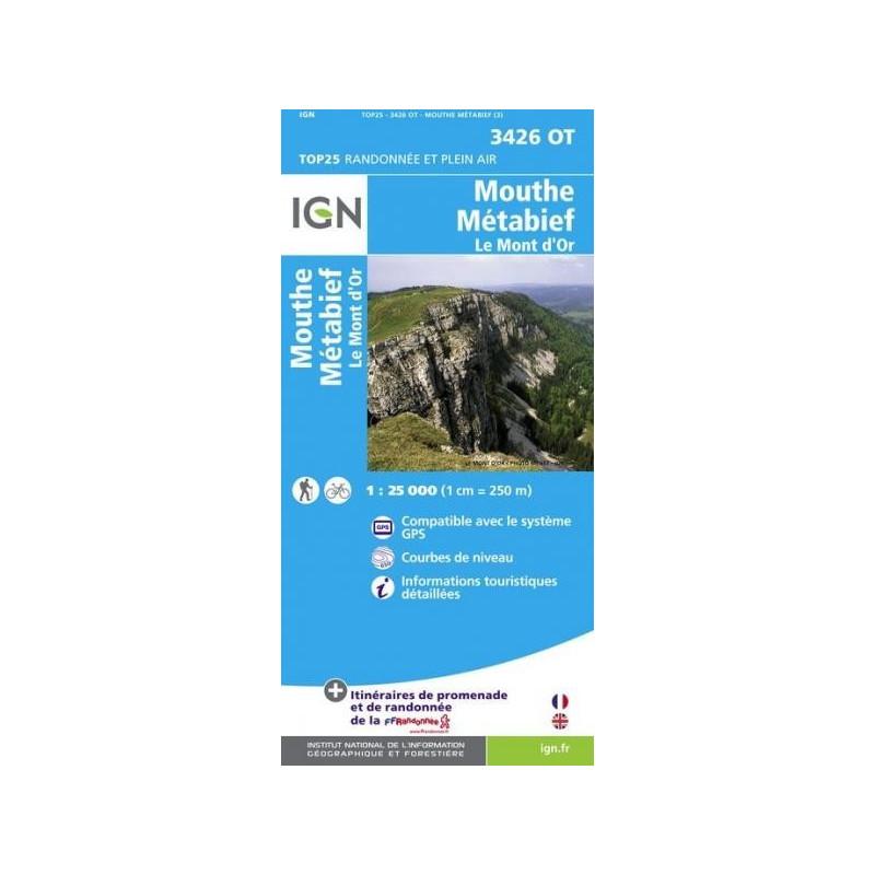 Achat Carte randonnées IGN - 3426 OT - Mouthe Métabief - Le Mont d'Or
