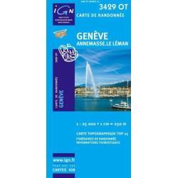 Achat Carte randonnées IGN - 3429 OT - Genève - Annemasse Le Léman