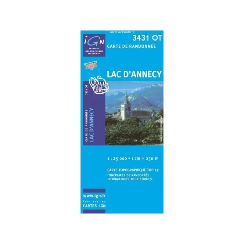 Achat Carte randonnées IGN - 3431 OT - Lac d'Annecy