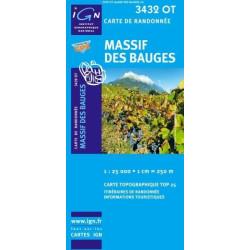 Achat Carte randonnées IGN - 3432 OT - Massif Des Bauges