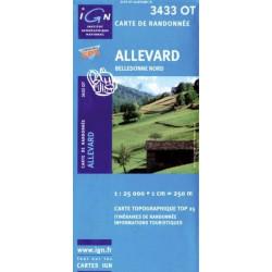 Achat Carte randonnées IGN - 3433 OT - Allevard - Belledonne Nord