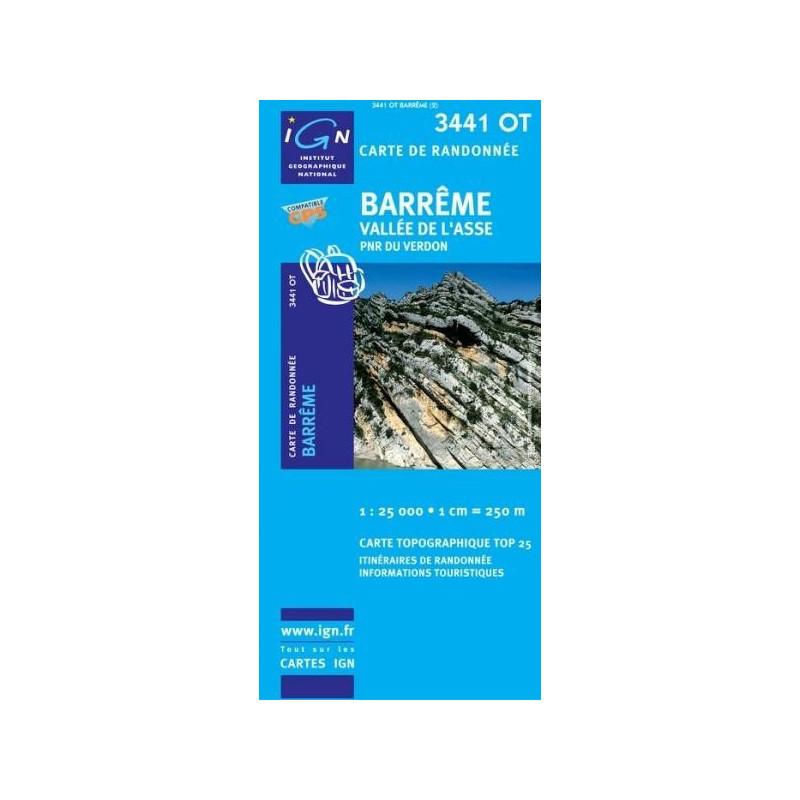 Achat Carte randonnées IGN - 3441 OT - Barrême - Vallée de l'Asse