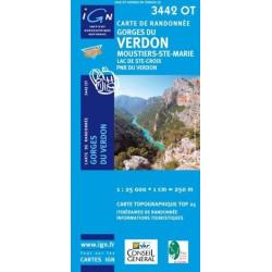 Achat Carte randonnées IGN - 3442 OT - Gorges Du Verdon - Moustiers Ste Marie