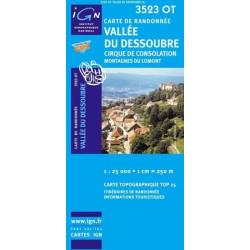 Achat Carte randonnées IGN - 3523 OT - Vallée Du Dessoubre - Cirque de Consolation