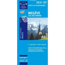 Achat Carte randonnées IGN - 3531 OT - Megève - Col des Aravis