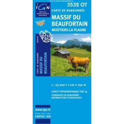 Achat Carte randonnées IGN - 3532 OT - Massif Du Beaufortain - Moûtiers La Plagne