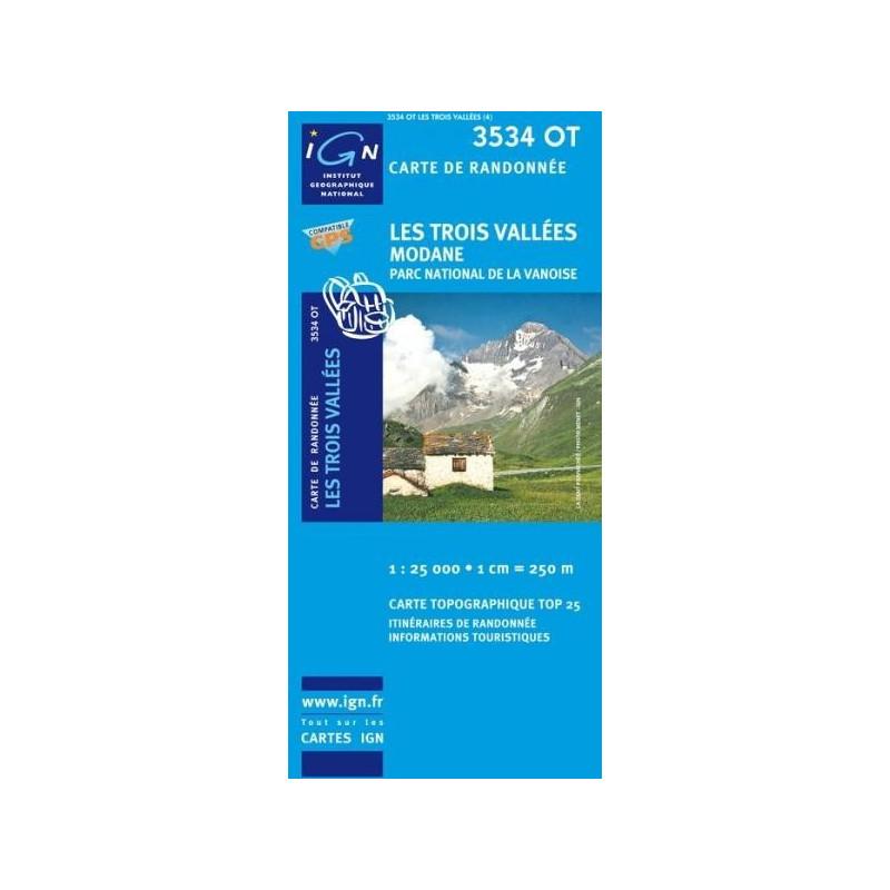 Achat Carte randonnées IGN - 3534 OT - Les Trois Vallées Modane - Parc National de la Vanoise