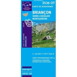 Achat Carte randonnées IGN - 3536 OT - Briançon - Serre Chevalier Montgenèvre
