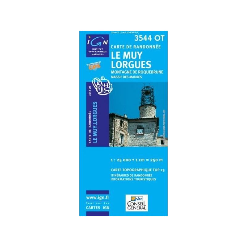 Achat Carte randonnées IGN - 3544 OT - Le Muy Lorgues - Montagne de Roquebrune