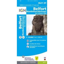 Achat Carte randonnées IGN - 3621 OT - Belfort - Montbéliard Héricourt