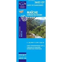 Achat Carte randonnées IGN - 3623 OT - Maîche - Gorges du Doubs