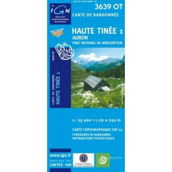 Carte randonnées IGN - 3639 OT - Haute Tinée 1 - Auron