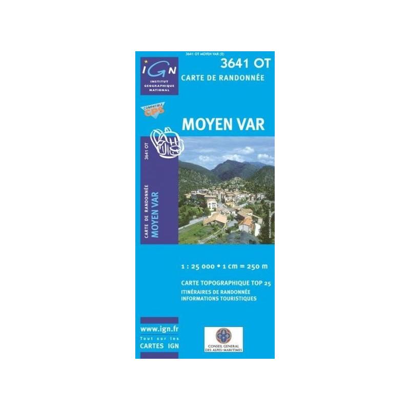 Carte randonnées IGN - 3641 OT - Moyen Var