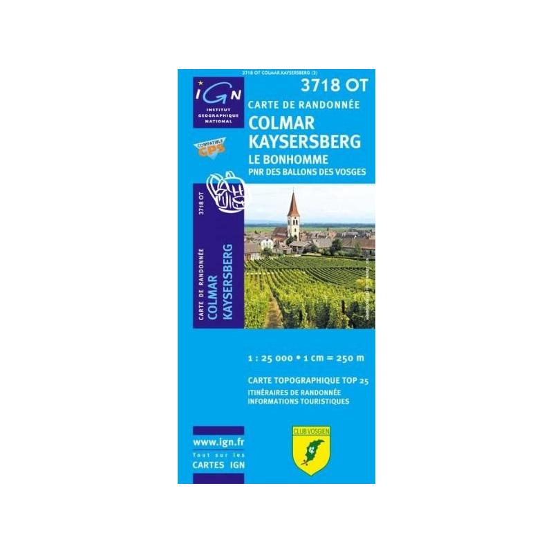 Achat Carte randonnées IGN - 3718 OT - Colmar Kaysersberg - Le Bonhomme
