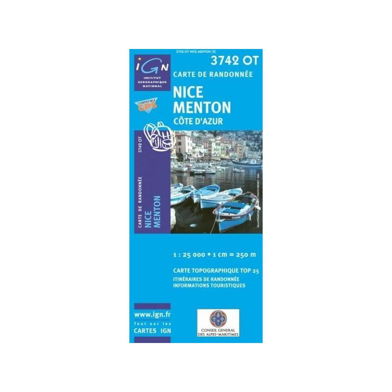 Achat Carte randonnées IGN - 3742 OT - Nice Menton - Côte dAzur