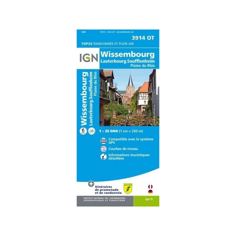 Achat Carte randonnées IGN - 3914 OT - Wissembourg - Lauterbourg Soufflenheim
