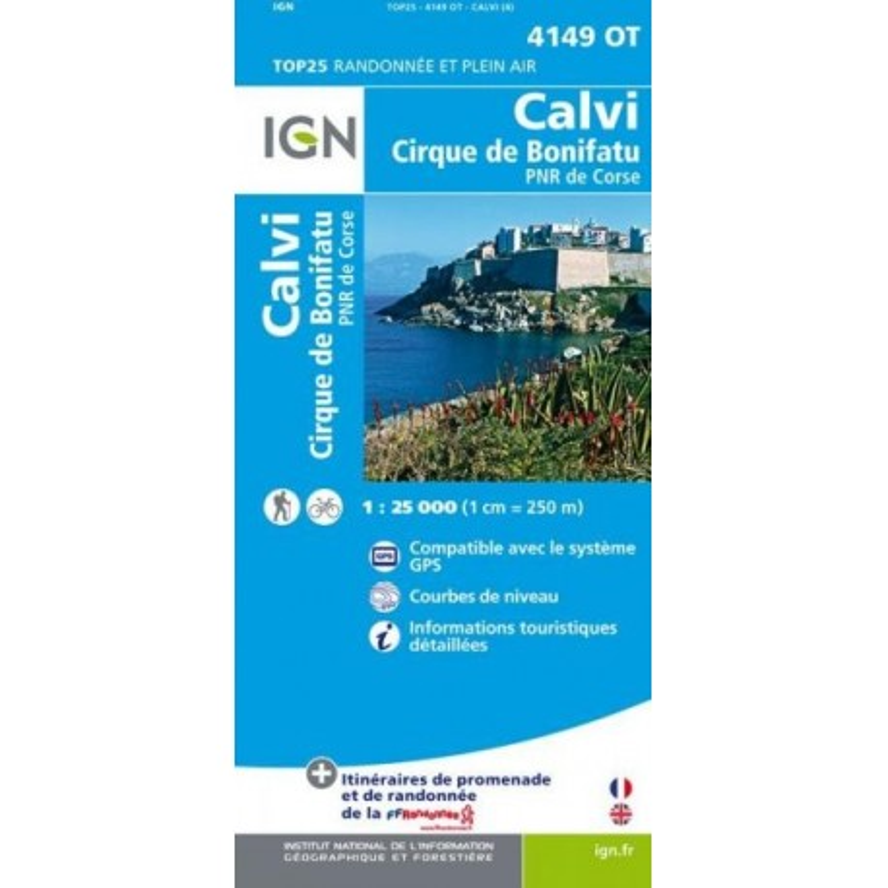 Achat Carte randonnées IGN - 4149 OT - Calvi - Cirque de Bonifatu