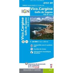 Achat Carte randonnées IGN - 4151 OT - Vico Cargèse - Golfe de Sagone