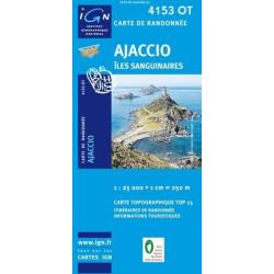 Achat Carte randonnées IGN - 4153 OT - Ajaccio - Îles Sanguinaires
