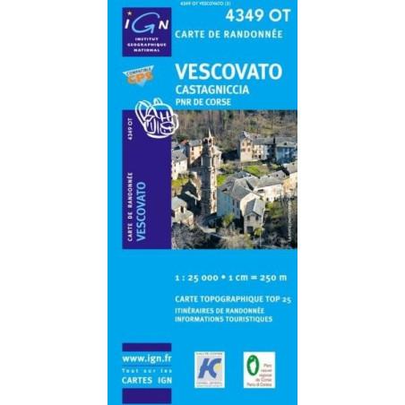 Achat Carte randonnées IGN - 4349 OT - Vescovato - Castagniccia