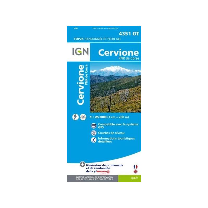 Achat Carte randonnées IGN - 4351 OT - Cervione - PNR de Corse