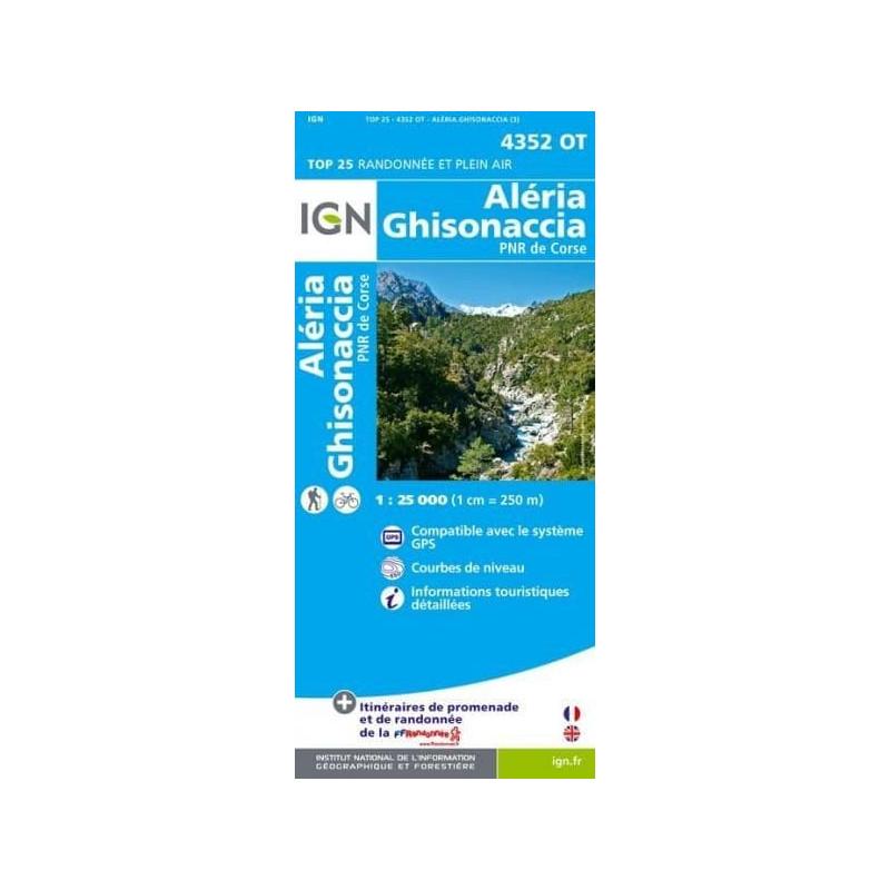 Achat Carte randonnées IGN - 4352 OT - Aléria Ghisonaccia - PNR de Corse