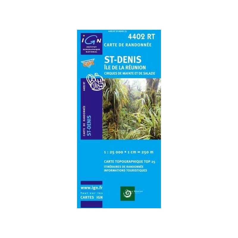 Achat Carte randonnées IGN - 4402 RT - St Denis - Île de la Réunion